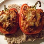 Stuffed Red Peppers with Vegetarian Chilli and Refried Beans