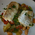 Baked Cod with Chorizo and Butter Bean Stew