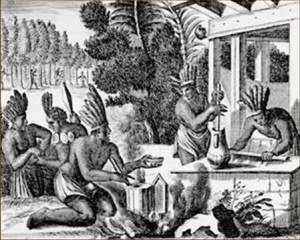 17th century lithograph showing Aztecs preparing chocolate