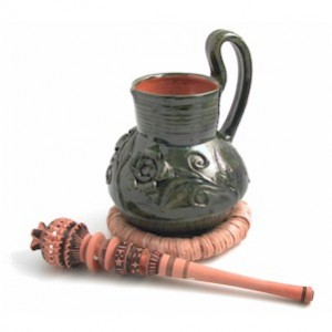 Chocolate pot and molinillo whisk