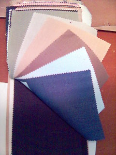 A sample bunch of fine linens from Dormeuil, the cloth merchants on Sackville St, around the corner from Savile Row
