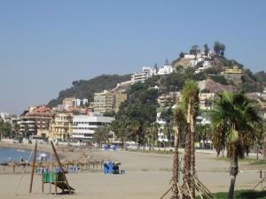 Malaga beach and town